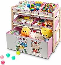 Greensen Kinderregal Holz Spielzeugregal mit 6
