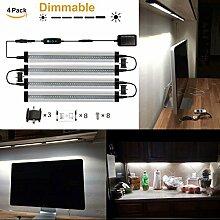 GreenSun 3W LED Unterbauleuchte Lichtleiste Küchenleiste, Transparent LED Küchenleuchte Küchenlampe,DC 24V 30cm, 6000K ,LED Schrankbeleuchtung ,Schrankleuchte, Schranklampe Mit 3 Mode Dimmbar Schalter 4er Pack