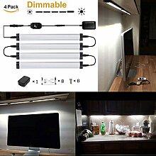 GreenSun 5W LED Unterbauleuchte Lichtleiste Küchenleiste, LED Küchenleuchte Küchenlampe,DC 24V 50cm, 6000K ,LED Schrankbeleuchtung ,Schrankleuchte, Schranklampe Mit Schwenkbar Dimmbar Schalter 4er Pack