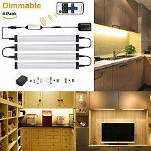 GreenSun 5W LED Unterbauleuchte Lichtleiste Küchenleiste, LED Küchenleuchte Küchenlampe,DC 24V 50cm, 3000K ,LED Schrankbeleuchtung ,Schrankleuchte, Schranklampe Mit Fernbedienung 4er Pack