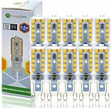 GreenSun LED Lighting 10x 3.5W G9 LED Lampe 280