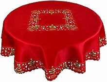 Grelucgo Bestickte Weihnachts-Tischdecke mit