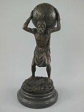 Gremegro Bronze Figur Mann Kugel H.33x15x15cm