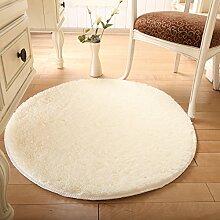 GRENSS 1 Stück Runde rutschfeste Teppich für Wohnzimmer und Schlafzimmer Mode große Matten Soft Solid einfachen Teppichen auf dem Boden 6 Farben V20, Gelb, Durchmesser 120 cm