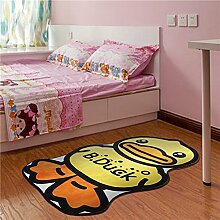 GRENSS 100 * 160 cm Cartoon Bear Teppich Kid Schwarz Wolldecke für Baby Schlafzimmer Teppich Kinderzimmer, Teppiche, Wohnzimmer Rutschfeste Fußmatte, Gelb, 100 cm x 160 cm