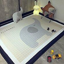 GRENSS 145 x 195 cm 100% Baumwolle Kinder Teppich und Teppich Groß Baby krabbeln Mat Kinder Wolldecke für Home Wohnzimmer Kinder Fußmatte Baby Pad, Elefant, 1450 mm x 1950 mm