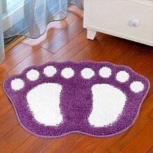 GRENSS Big foot Form der Tür Matte, Schlafzimmer Badezimmer WC Wasser rutschigen Teppich, weichen in vielen Farben Wolldecke, Lila, 400 x 600 mm