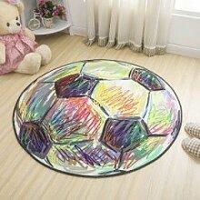GRENSS Einfachen Stil runder Teppich Kinder Wolldecke für Schlafzimmer Bettvorleger Tapeta Baby krabbeln Mat Flur Fußmatte Schöner Teppich Kinderzimmer, Fussball, Durchmesser 1200 mm.