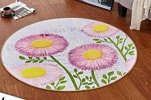 GRENSS Europäische Runde 3D-gedruckten Blume Teppich Teppiche Kinderzimmer baden Wolldecke Schlafzimmer mat Rutschfeste 80*80 100*100 CM computer Kaffee Matte, J, 100 x 100 cm