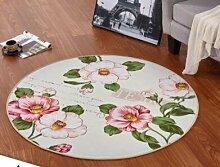 GRENSS Europäische Runde 3D-gedruckten Blume Teppich Teppiche Kinderzimmer baden Wolldecke Schlafzimmer mat Rutschfeste 80*80 100*100 CM computer Kaffee Matte, L, 100 x 100 cm