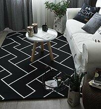 GRENSS INS mode große Super Weiches Flanell schwarz/weiß Wolldecke 15 mm dicken weichen Wohnzimmer Teppich Spielteppich Rutschfeste Wolldecke Decke, B, 120 x 190 cm