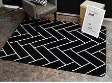 GRENSS INS mode große Super Weiches Flanell schwarz/weiß Wolldecke 15 mm dicken weichen Wohnzimmer Teppich Spielteppich Rutschfeste Wolldecke Decke, H, 45 x 75 cm.