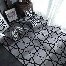 GRENSS INS mode große Super Weiches Flanell schwarz/weiß Wolldecke 15 mm dicken weichen Wohnzimmer Teppich Spielteppich Rutschfeste Wolldecke Decke, Q, 95 x 95 cm.
