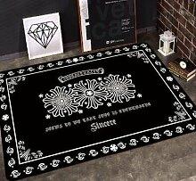 GRENSS INS mode große Super Weiches Flanell schwarz/weiß Wolldecke Sonnengott soft Wohnzimmer Teppich Spielteppich Rutschfeste Wolldecke decke Kaffee Matte, D, 120 x 80 cm