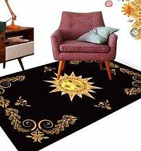 GRENSS INS mode große Super Weiches Flanell schwarz/weiß Wolldecke Sonnengott soft Wohnzimmer Teppich Spielteppich Rutschfeste Wolldecke decke Kaffee Matte, F, 120 x 80 cm