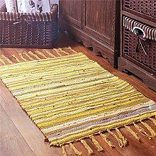 GRENSS Kelim Fester 100% Baumwolle Badezimmer Wohnzimmer Teppich Geometrische indischen Wolldecke gestreift Moderne Mat modernes Design im nordischen Stil, Gelb, 120 x 180 cm