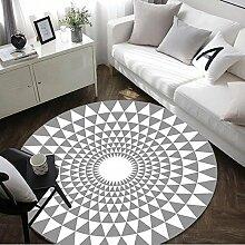 GRENSS Mode weiche runde Flanell dekorativen Teppich Fuß Tür Yoga Stuhl Spielteppich Badezimmer Flur Teppich Schwarz Weiß Blüte Geometrische, grau, Durchmesser 100 cm