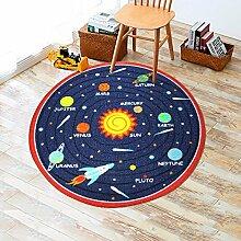 GRENSS Runder Teppich für Kinder Zimmer mit Solaranlage Bedruckte Teppiche Teppich für Kinder Wohnzimmer Teppiche Zimmer Kinder Teppich Schlafzimmer verwendeten Matten, mit roten Seite, 1000 mm x 1000 mm