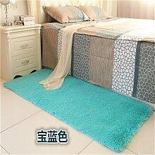 GRENSS Schlafzimmer anpassen Teppich 80 * 160 cm lange Haare (4-5 cm) Wohnzimmer Teppich 50*160 Küche Wolldecke 120*170 cm Anpassen moderne Zimmer Matte, blauen Teppichen, 100 x 160 cm