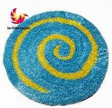 GRENSS Schöne runde Rutschfeste Teppich Baby Rom Wolldecke für modernes Wohnzimmer Schlafzimmer sofa Teppich 70*70 cm, Blau, 700 mm x 700 mm