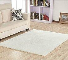 GRENSS Stock dicke Wolldecke Kaschmir Teppich Soft Rechteck Matten rutschsichere Wasseraufnahme für Wohnzimmer Wohnzimmer Schlafzimmer, weiß, 50 x 80
