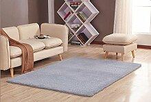 GRENSS Stock dicke Wolldecke Kaschmir Teppich Soft Rechteck Matten rutschsichere Wasseraufnahme für Wohnzimmer Wohnzimmer Schlafzimmer, grau, 50 x 80