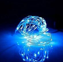 Gresonic 20er LED Lichterkette Innen Micro Draht Batterie-betrieben mit Schalter LED Lichtshop (Blau)