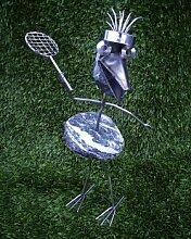 Greta, die Tennisspielerin Steinvogel bzw. Edelstahlvogel aus Edelstahl und Stein ein schöner Gartenvogel die besondere Art der Gartendeko Größe M ca. 40 cm