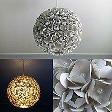 Grey Pearl Flower, Lampe Leuchte Lampenschirm Pendelleuchte Pendellampe Hängeleuchte Hängelampe Papierleuchte Papierlampe Reispapierlampe Designerlampe Wohnzimmerlampe Schlafzimmerlampe Deckenlampe Blüten Perlen Kugel Pendel Papier