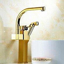 GreyZook Vergoldete gestreckte Küche Wasserhahn