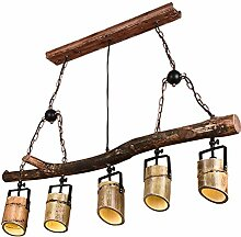 GRFH Vintage Holz Bambusrohr Industrie Loft Lampe