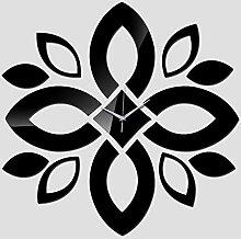 Grhkmd Acryl Wanduhr Blumendesign Spiegel