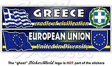 GRIECHENLAND-EUROPÄISCHE UNION Flagge-Wappen