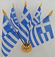 Griechenland Griechische Flagge 5Desktop Tisch mit Gold Boden