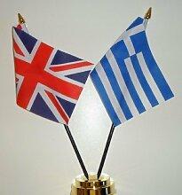 """Griechenland und Vereinigtes Königreich Freundschaft Tisch Flagge Display 25cm (10 """""""")"""