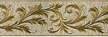 Griechische Bordüre Tapete aus Vinyl waschbar Knitter Effekt Stoff drucken Designer mit Glitter gold auf Boden Schlamm m7782Mini Classic