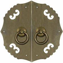 Griff,Antik messinggriff Schranktür griff Chinesisch zu behandeln Antike möbelgriff Kupfer armaturen Türschloss Knopf Face plate schraube schrankeinbau-D