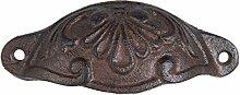 Griff Apothekerschrank oval Muschelgriff Gusseisen schwarz braun Ornament Möbelgriff