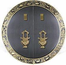 Griff,Chinesische antik kupfer griff Tier kopf griff Möbelgriff Sperren zubehör Runde Klopfer Face plate schraube schrankeinbau 35cm-K