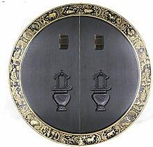 Griff,Chinesische antik kupfer griff Tier kopf griff Möbelgriff Sperren zubehör Runde Klopfer Face plate schraube schrankeinbau 35cm-L