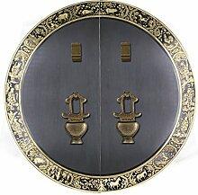 Griff,Chinesische antik kupfer griff Tier kopf griff Möbelgriff Sperren zubehör Runde Klopfer Face plate schraube schrankeinbau 35cm-J