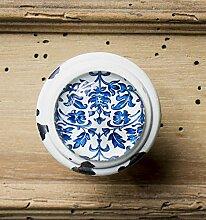Griff, Möbelgriff Antik den blaue Blumen