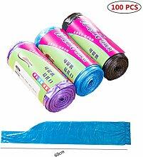 Griff tragbar Kunststoff Trash Taschen Garbage Müllsack Müllbeutel für Badezimmer Küche Wohnzimmer 5–7Liter Mülleimer Multi Farben 100Stück/Pack