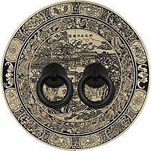Griff,Türschnalle Chinesisch zu behandeln Antik kupfer griff Türschnalle Ming und qing klassische griff Möbelgriff Zubehör Face plate schraube schrankeinbau-F