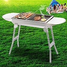 Grill BBQ Thick Edelstahl-Holzkohle Outdoor-Grill-Familie Klappgrill Für 3-5 Personen Kochen