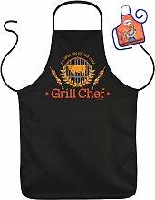GRILL Chef - Fun Schürze - mit kleiner Mini-Schürze als Präsen