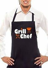 Grill Chef - Zweifarbig - Grillschürze Schwarz / Orange-Weiss