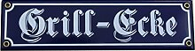 Grill Ecke Emaille Schild 8 x 30 cm Emailschild blau.
