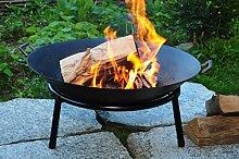 GRILL Feuerschale aus Gusseisen mit 2 Griffen + Standring, LEICHT+STABIL, groß 60 cm, mit Reinigerbürste Feuerstelle Feuerkorb Terrassenofen GRILL