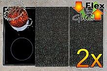 Grill- & Herdabdeckplatten 2-tlg. Set GRANIT-Optik grau dunkel schwarz gemustert, Herdabdeckung + Spritzschutz Glas, Herdblende,Herdabdeckplatte für Elektroherd mit Ceran,Ceranfeld,Induktion Kochfeld - auch als Grill-Schneidebrett Maße viereckig je ca. 52 cm x 30 cm x 0,8 cm - Herdplatten Abdeckung Schneidbretter Glaskeramik Kochfelder Kochplatten, Herdset einzeln doppel doppelt rund, Kinderschutz für Herdfeld Herdglas Ofen Backofen, Herdzubehör, Kochfeldplatten gross